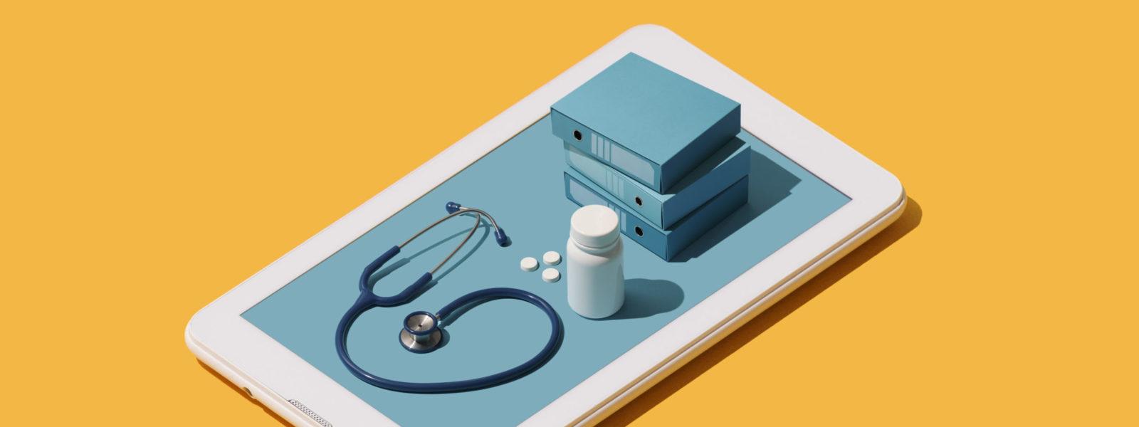 Online medical app on a smartphone